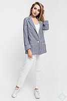 Стильный женский пиджак Николь, серый\бел. полоска, фото 1