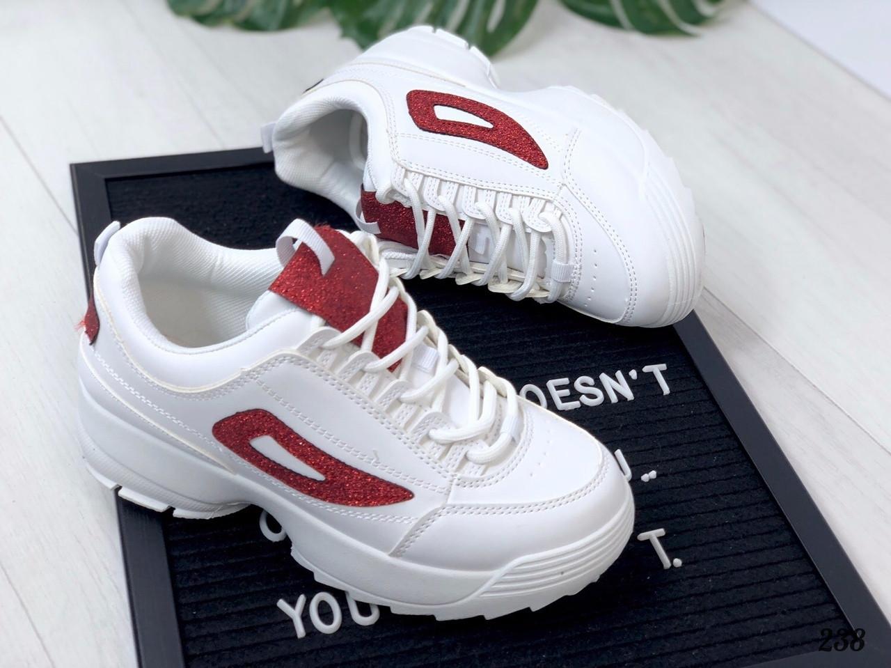 Кроссовки Fila белые с красным. Аналог