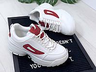 Кроссовки Fila белые с красным. Аналог, фото 1
