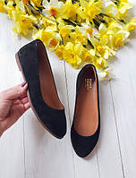 Балетки туфли женские больших размеров кожаные замшевые 40, 41, 42 на низком ходу черные