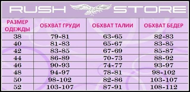 Размерная таблица украинская