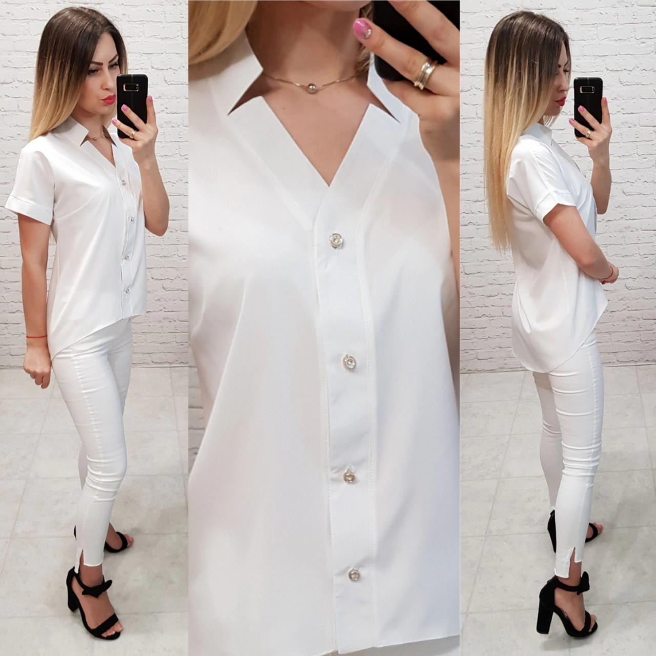 Блуза з коротким рукавом і подовженою спинкою арт. 160 біла
