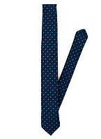 Мужской стильный галстук в синем цвете в голубой горох оригинальный Pierre Cardin