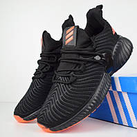 Мужские кроссовки Adidas Alphabounce Instinct черные с оранжевым. Живое фото (Реплика ААА+)