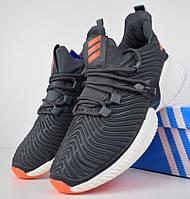 Мужские кроссовки Adidas Alphabounce Instinct серые с оранжевым. Живое фото (Реплика ААА+)