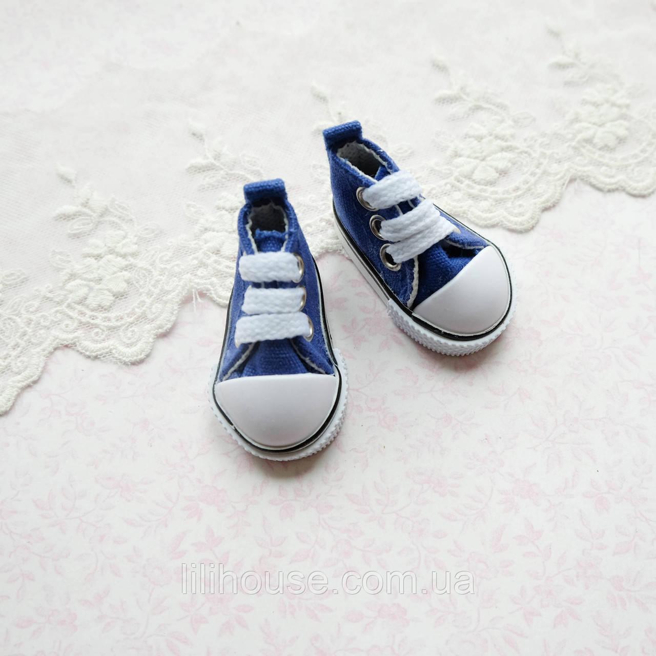 Обувь для кукол, кеды на шнуровке синие - 5*2.5 см
