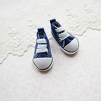 Обувь для кукол, кеды на шнуровке синие - 5*2.5 см, фото 1