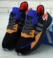 65378aa9 Мужские кроссовки Adidas Nite Jogger черные с фиолетовым. Живое фото ( Реплика ААА+)