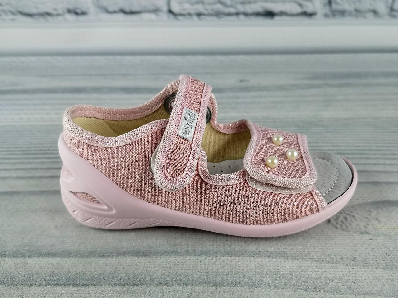 07d9d5feb Текстильная обувь для девочек. Босоножки Ева Бусинки Розовый Waldi Украина