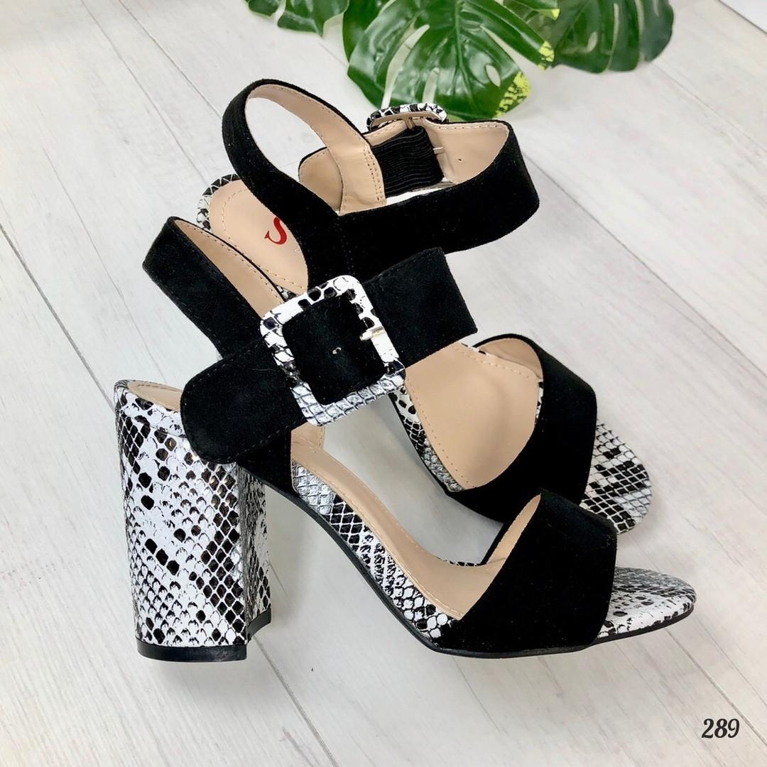 Босоножки Pitone с пряжкой на каблуке черные