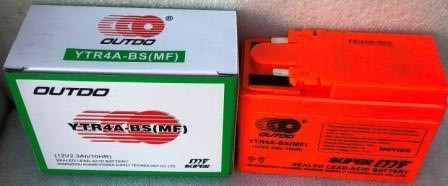 Аккумулятор YTR4A-BS 12V/2.3Ah широкая таблетка оранжевая 85x49x114 OUTDO