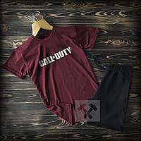Мужской летний спортивный комплект Call-Duty бордовый с черным