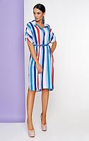 Прямое платье в цветную вертикальную полоску с удлиненной спинкой
