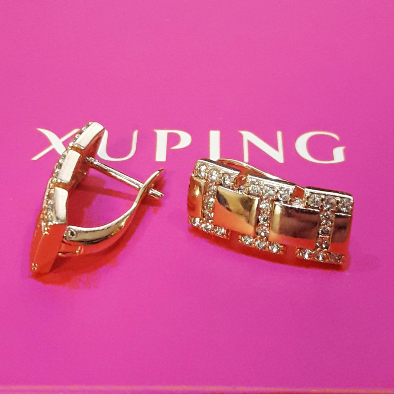 Серьги Xuping позолота 18К  длина 1.6см ширина 7мм с1103