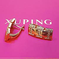 Серьги Xuping позолота 18К  длина 1.6см ширина 7мм с1103, фото 1
