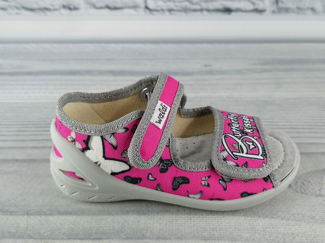 83b12fbbf Текстильная обувь для девочек. Босоножки Ева. Бабочки Розовый/серый Waldi  Украина