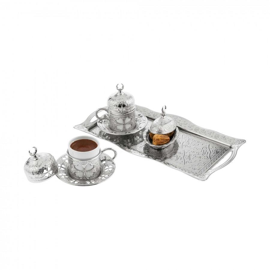 Набор чашек для кофе Серебристый цветок Sena на 2 персоны