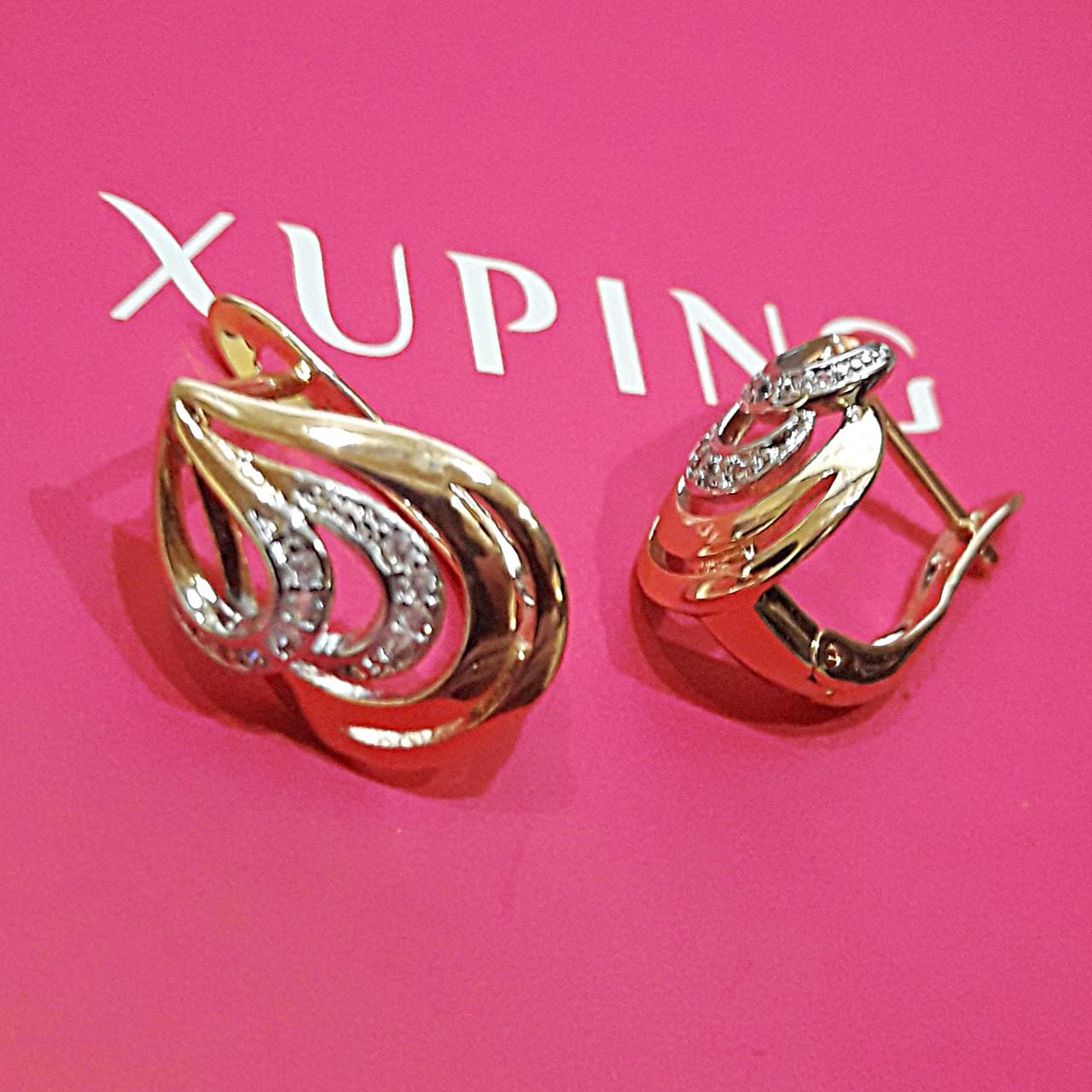 Серьги Xuping позолота 18К+родий  длина 1.5см ширина 10мм медзолото с1099