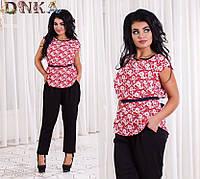 Красивый  Костюм  Брюки+блуза  50,52,54,56 штапель, Цвет -Брюки чёрные + красная блуза,