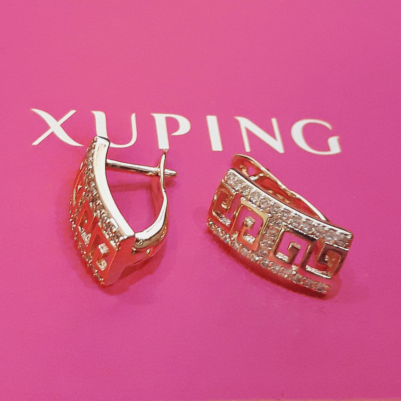 Серьги Xuping позолота 18К длина 1.5см ширина 6мм с1094