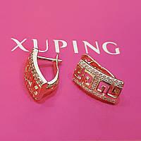Серьги Xuping позолота 18К длина 1.5см ширина 6мм с1094, фото 1