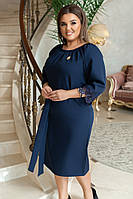 Женское силуэтное платье под пояс с отделкой из кружева с брошью 50-52; 54-56; 58-60
