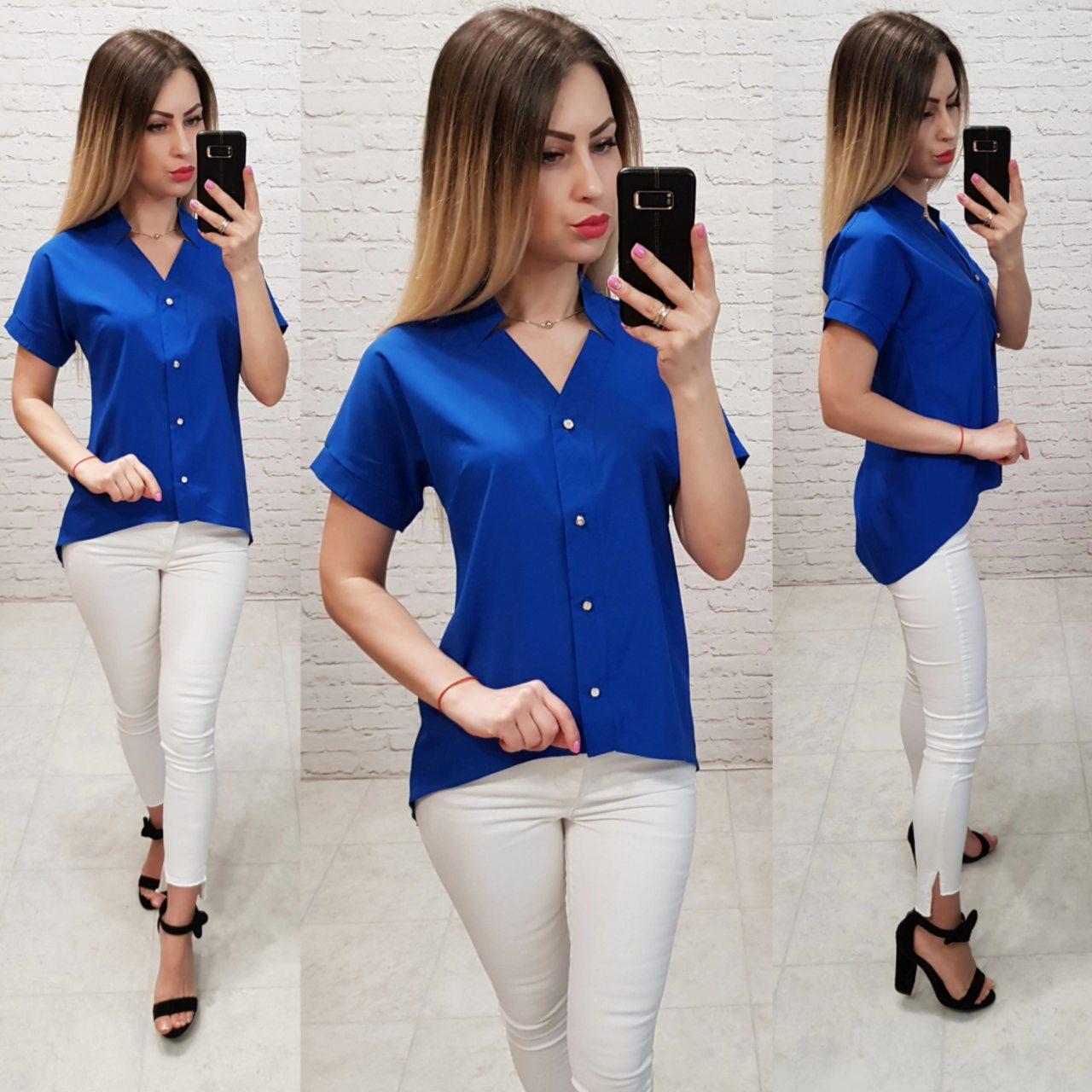 Блуза з коротким рукавом і подовженою спинкою арт. 160 синій електрик