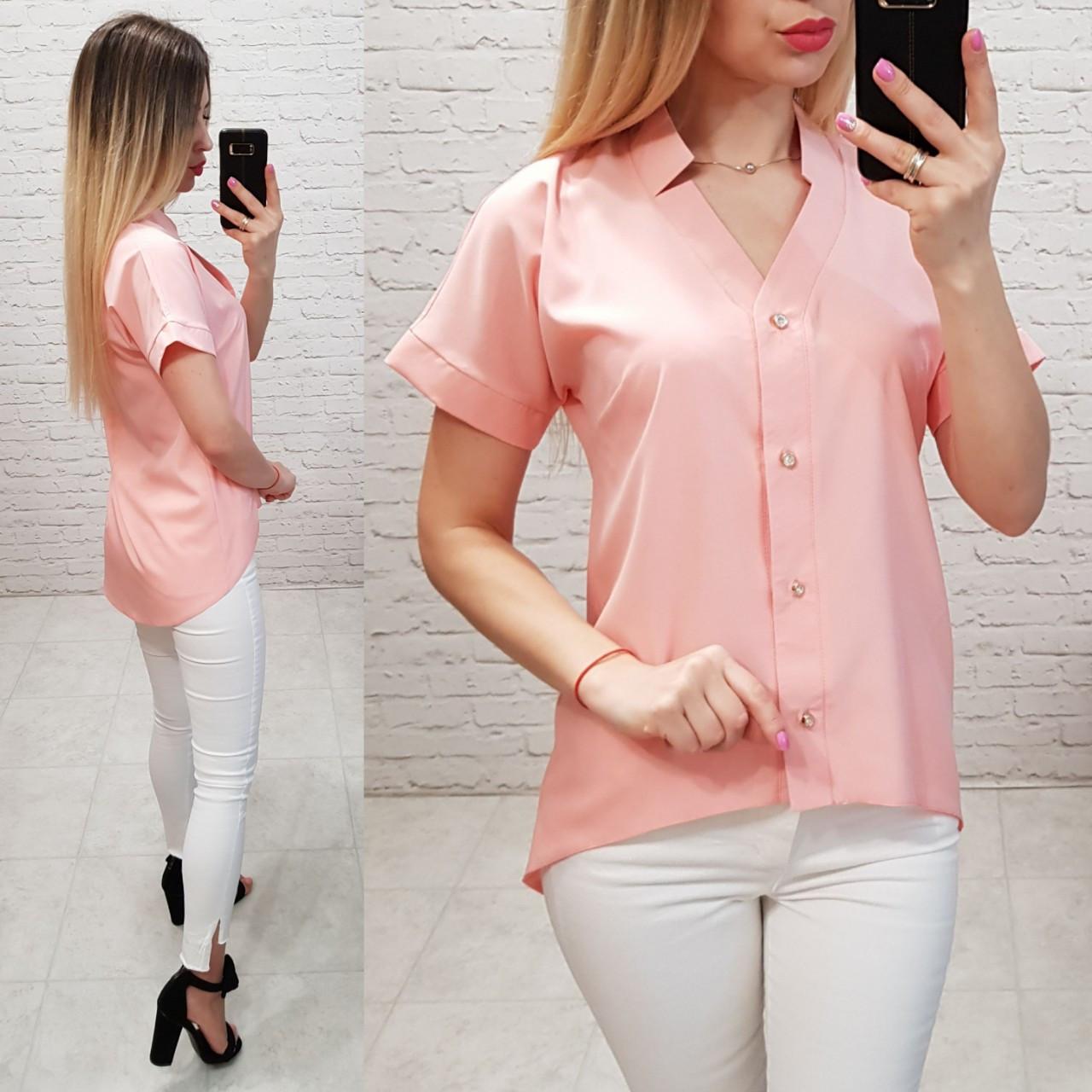 Блуза з коротким рукавом і подовженою спинкою арт. 160 персикова