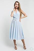 Летнее платье Иванна голубой\бел горох, фото 1