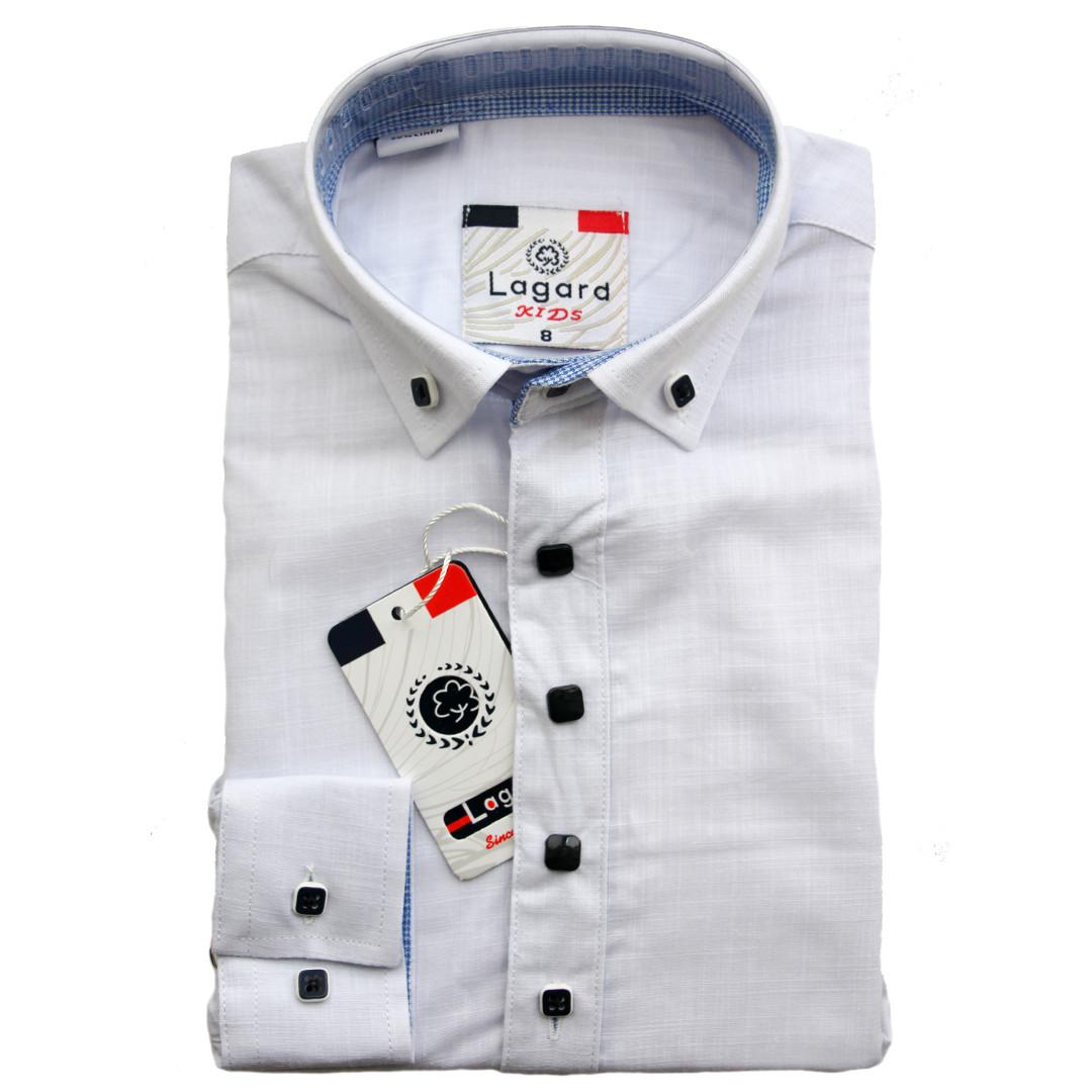 Рубашка для мальчика Lagard длинный рукав трансформер приталенная белая на кнопках
