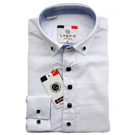Рубашка для мальчика Lagard длинный рукав трансформер приталенная белая на кнопках, фото 2