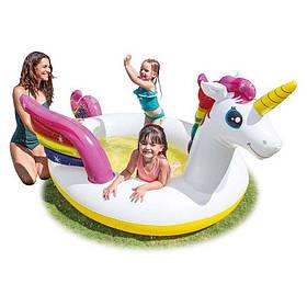 Детский надувной бассейн-игровой центр Intex 57441NP Единорог 272х193х104 см оригинал