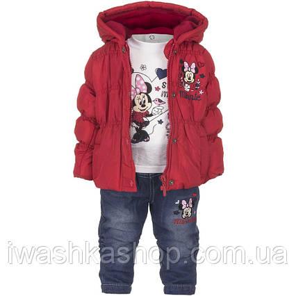 Демисезонный костюм на девочку, куртка, лонгслив, джинсы с Минни Маус, р. 67 на 6 месяцев, Disney baby