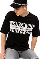 Черная мужская футболка LC Waikiki / ЛС Вайкики с надписью CHECK OUT, фото 1