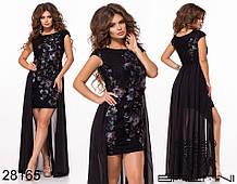 Нарядное женское платье Вышивка на сетке Декорировано бусинами Размер 42 44 46 В наличии 3 цвета