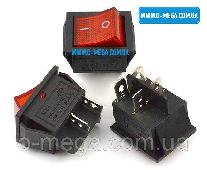 Кнопочный выключатель KCD4 (IRS-201) 250V 15A, 4 контакта с фиксацией и подсветкой 28,5 * 22,0 мм.