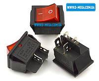 Кнопочный выключатель KCD4 (IRS-201) 250V 15A, 4 контакта с фиксацией и подсветкой 28,5 * 22,0 мм., фото 1