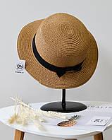 Модная соломенная летняя женская шляпа канотье коричневого цвета с бантом