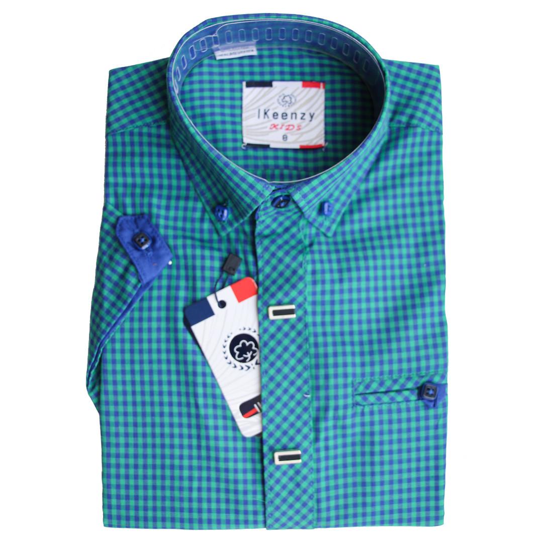 Рубашка для мальчика Ikeenzy короткий рукав приталенная зеленая в клетку на кнопках