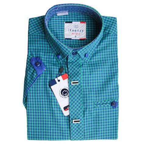 Рубашка для мальчика Ikeenzy короткий рукав приталенная зеленая в клетку на кнопках, фото 2