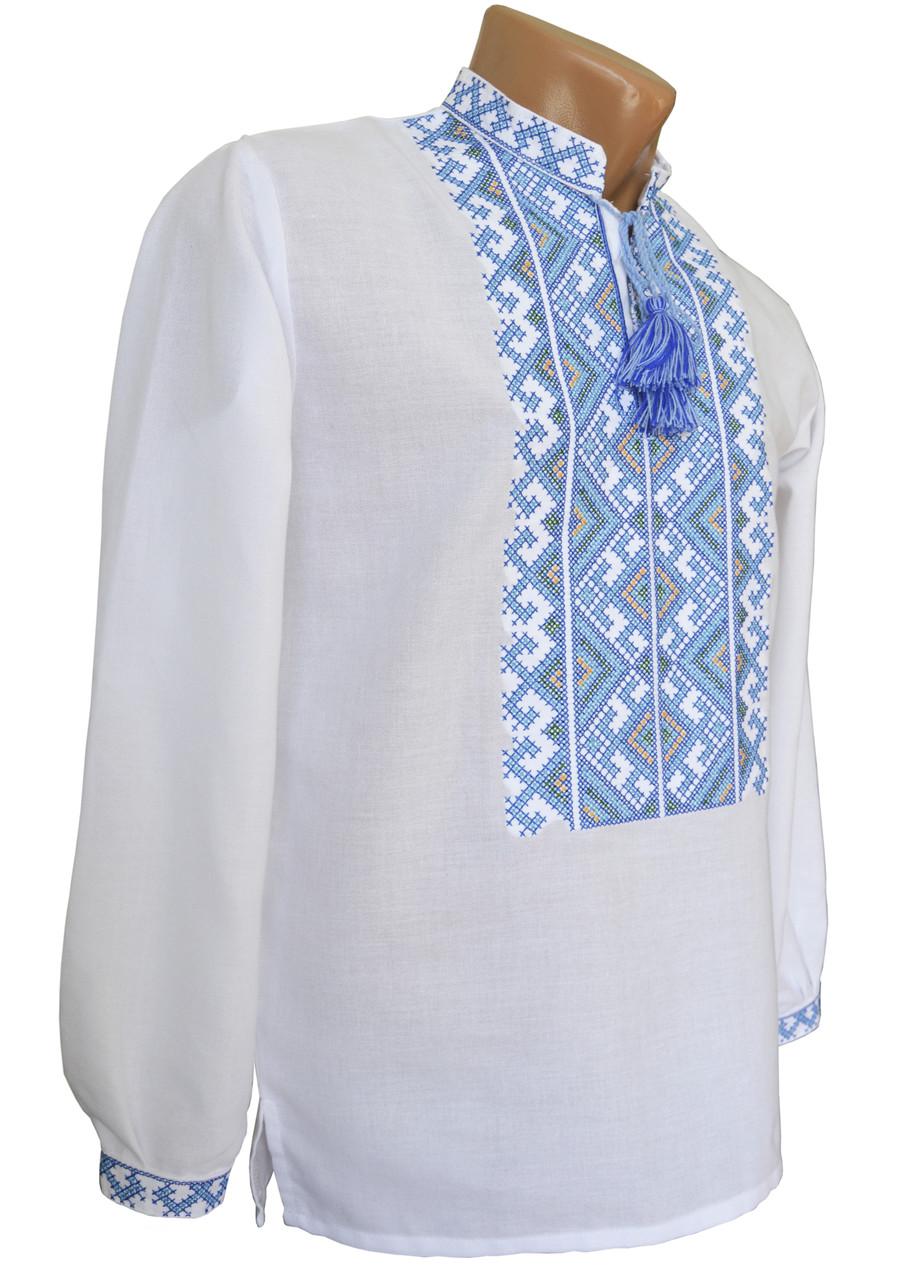 Стильная мужская вышиванка с длинным рукавом с голубой вышивкой