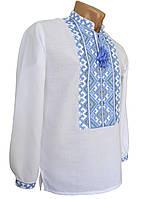 Стильна чоловіча вишиванка на довгий рукав із блакитною вишивкою