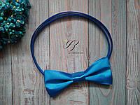 Синяя бабочка галстук атласная Цвет Електрик