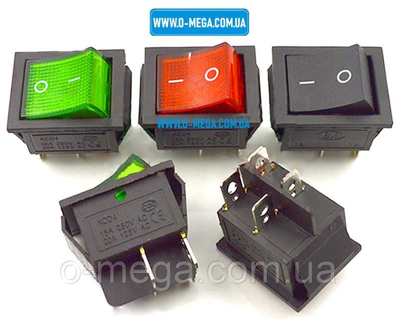 Кнопочный выключатель, Клавиша широкая, с подсветкой, 4 контакта с фиксацией 28,5 * 22,0 мм. 15A