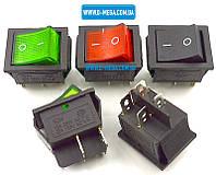 Кнопочный выключатель, Клавиша широкая, с подсветкой, 4 контакта с фиксацией 28,5 * 22,0 мм. 15A, фото 1