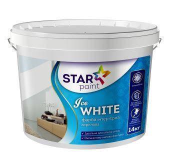 Фарба для стін і стель 14 кг Ice White STAR PAINT, фото 2