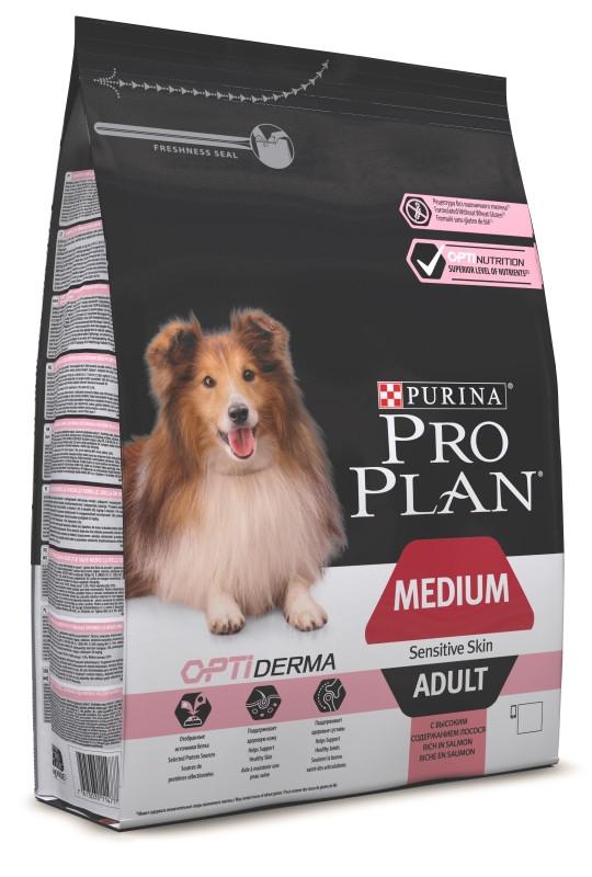 Pro Plan Adult Medium Sensitive Skin - корм Пурину Про План з лососем для собак середніх порід 14 кг