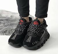 Versace Chain Reaction Triple Black | кроссовки женские и мужские; Версаче, полностью черные