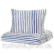 IKEA SANGLARKA Комплект постельного белья, полосатый, синий белый  (704.269.57)