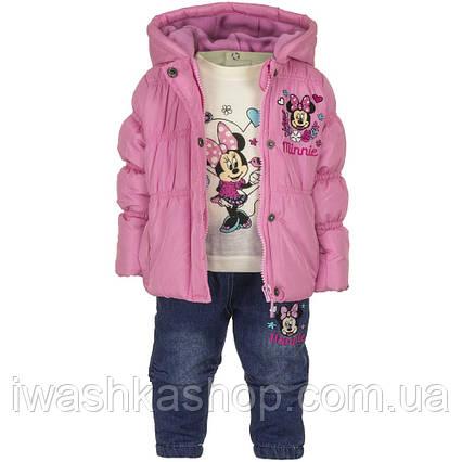 Демисезонный костюм на девочку, куртка, лонгслив, джинсы с Минни Маус, р. 81 на 18 месяцев, Disney baby